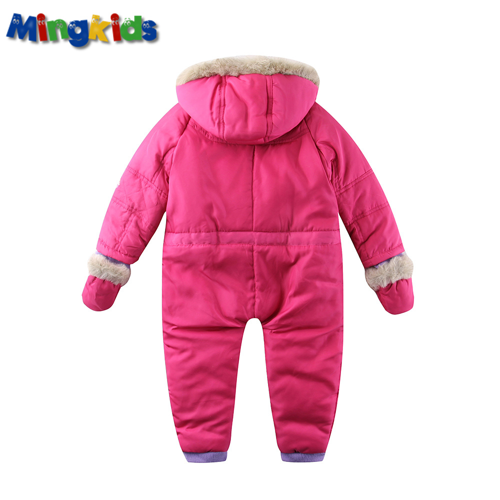Mingkids infant baby girl Rompers spring autumn Ski Jumpsuit Outdoor padded Warm Snowsuit windproof faux fur hood export Europe in Rompers from Mother Kids