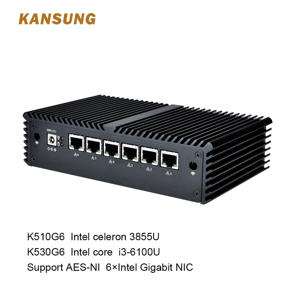 KANSUNG 6 LAN Fanless Support Mini PC Celeron Core I3 3855U DDR4 Ram AES-NI Linux