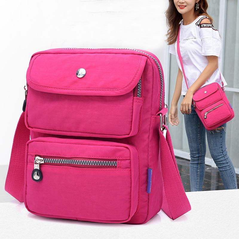 Women Shoulder Bag Fashion Solid Color Repellent Waterproof Nylon Girl Crossbody Beach Bag New 2018 bolsa feminina