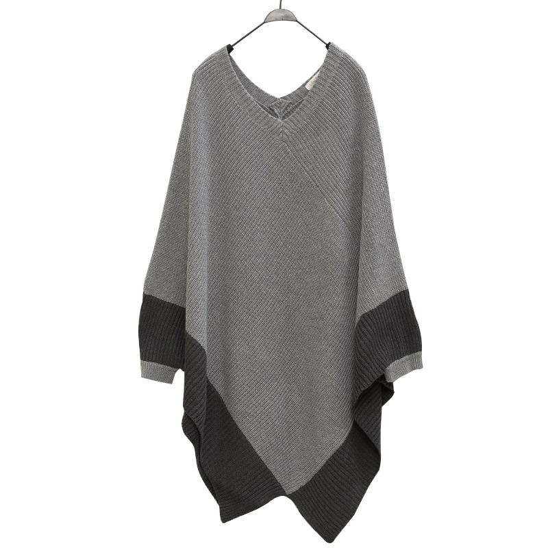 2017 Frauen Herbst Gestrickten Pullover Flügel-hülse V-ausschnitt Pullover Weibliche Lose Jumper Unregelmäßige Poncho Tops Cape Schal Pull Femme