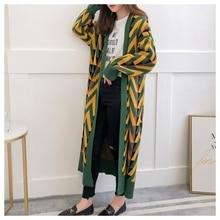 HSA женский длинный свитер кардиганы осень зима длинный свитер куртка геометрический вязаный кардиган длинное пальто зимнее пальто для женщин