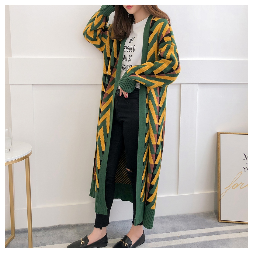 HSA Women Long Sweater Cardigans 2018 Autumn Winter Long Sweater Jacket Geometric Knit Cardigans Long Overcoat Winter Coat Woman