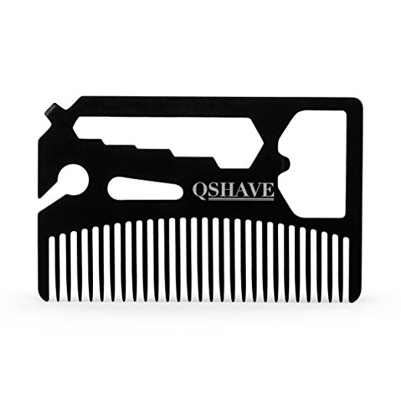 цена QSHAVE Multifunctional Utility Beard Comb Fits in Your Wallet (Comb, Bottle Opener, Wrench, Screw Driver, Knife Blade breakaway)