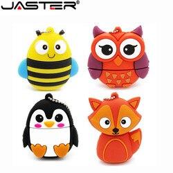 JASTER lindo pingüino búho zorro pen drive con dibujo animado usb pendrive 4 GB/8 GB/16 GB/32 GB/64 GB U disco memoria animal regalo