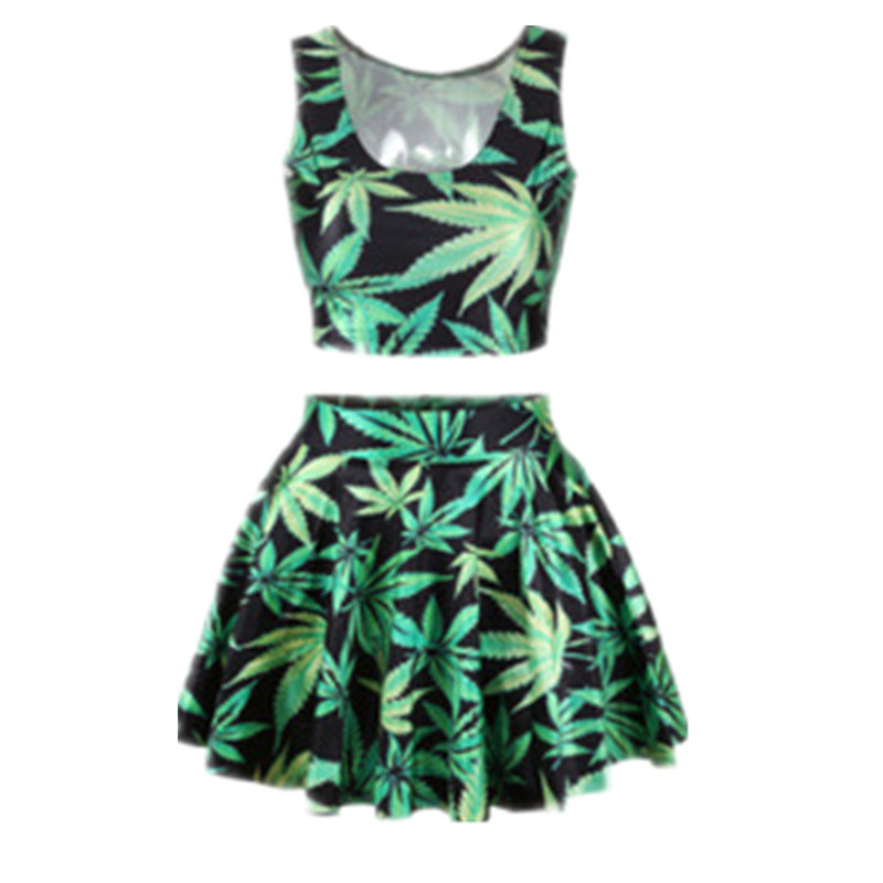 EAST KNITTING Fashion Women 2017 Summer Crop Top And Skirt Set  Suit Women Leaf Printed Brand Dress Drop Shipping