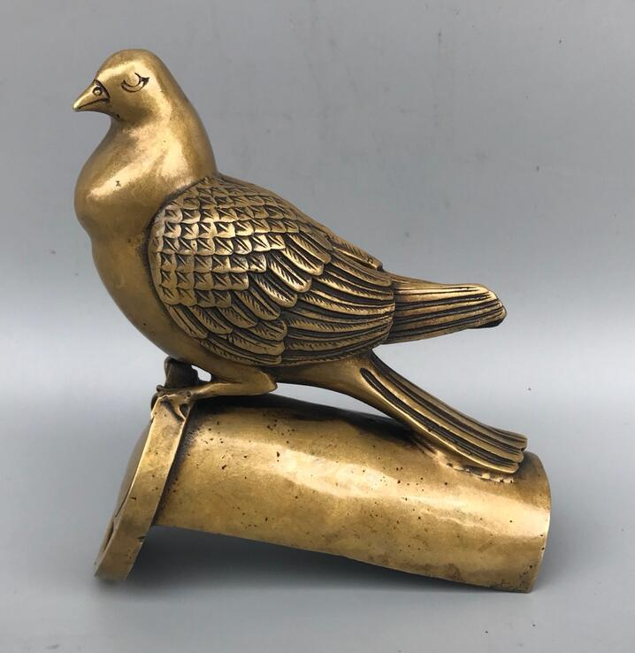 Collectible Decorate China Brass Handwork Carved Bird Statue