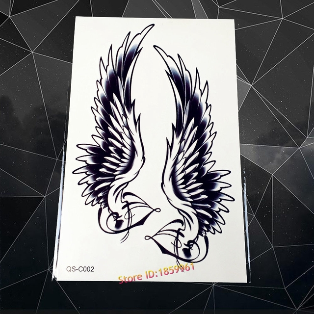 Sexy Men Women Body Makeup Flash Temporary Tattoo Stickers AQS-C002 Angel Wing Water Transfer Fake Tattoo Arm Shoulder Tatoo