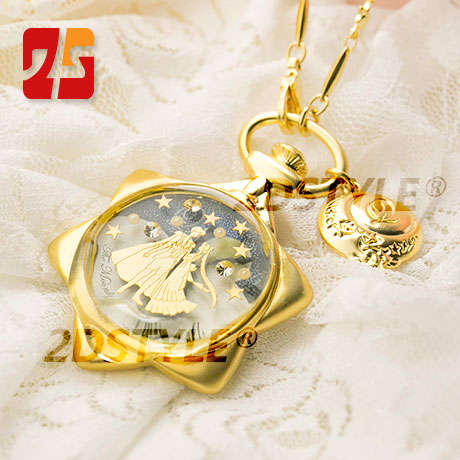 Anime Sailor Moon Necklace Pocket Watch With Chain Moonlight Memory Crystal Necklace Waterproof Quartz Pocket Watch Qpot Replica