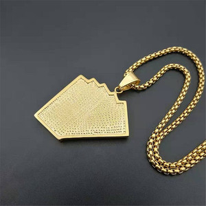 Image 4 - Hiphop Iced Out Playing Card Straight Flush Pendant With Stainless Steel Chain Mens Poker Necklace Golden Jewelry Dropshipping