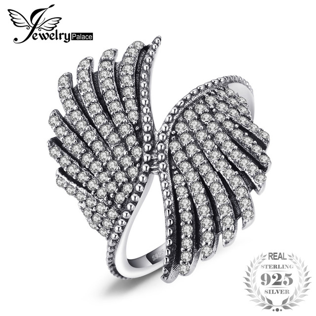 JewelryPalace 925 Sterling Silver Magnificent Feather Ring Gifts For Her Anniver