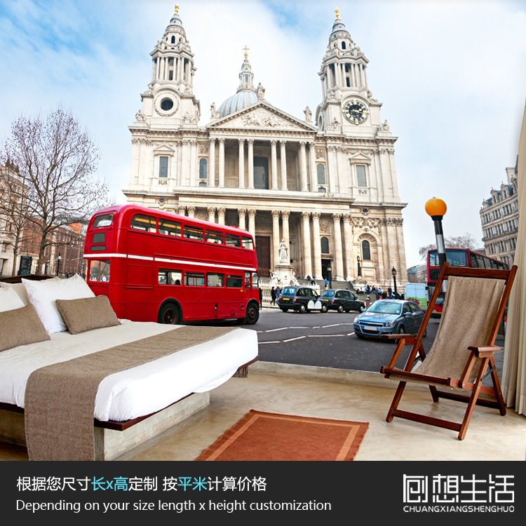 The London bus city Vista wallpaper mural in the living room sofa office background wallpaper customization bedroom wallpaper welly london bus 99930