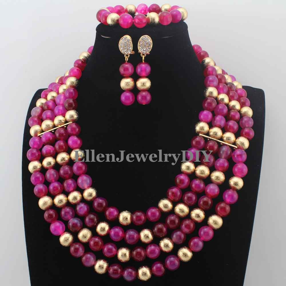 Amazing Nigerian Necklaces Wedding Fuschia Pink Agete Beads Necklace Set ring Balls African Beads Jewelry Set Free Ship W13720Amazing Nigerian Necklaces Wedding Fuschia Pink Agete Beads Necklace Set ring Balls African Beads Jewelry Set Free Ship W13720