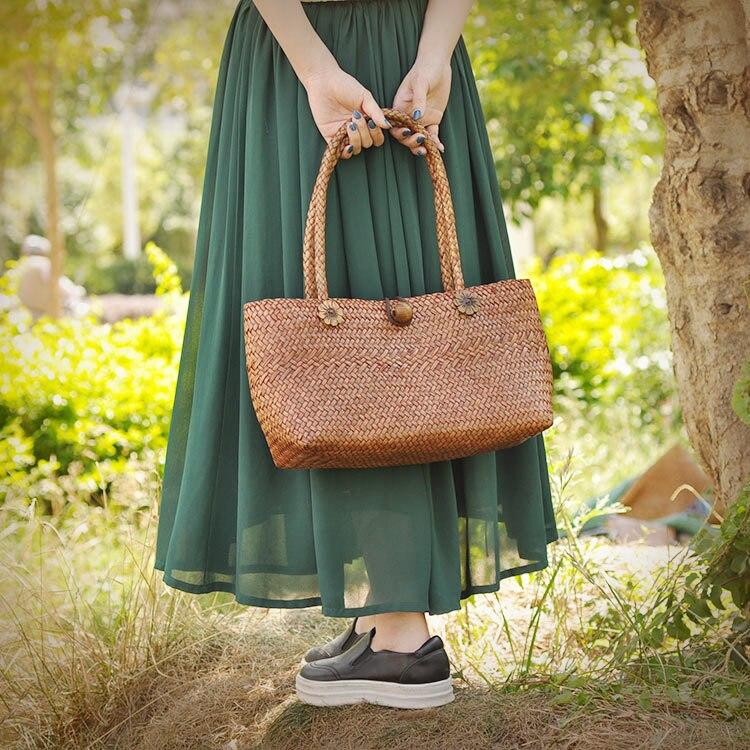 2017 Beach Bag for Summer Big Straw Bags Handmade Grass Woven Tote Women Travel Handbags Luxury Designer Shopping Hand Bags