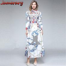 c16a2fe7a051 Women Dresses Long Sleeve Shirts Runway Vestidos Maxi Autumn Angels Bees  Robe Longue Femme Stars Flower Christmas Dress White