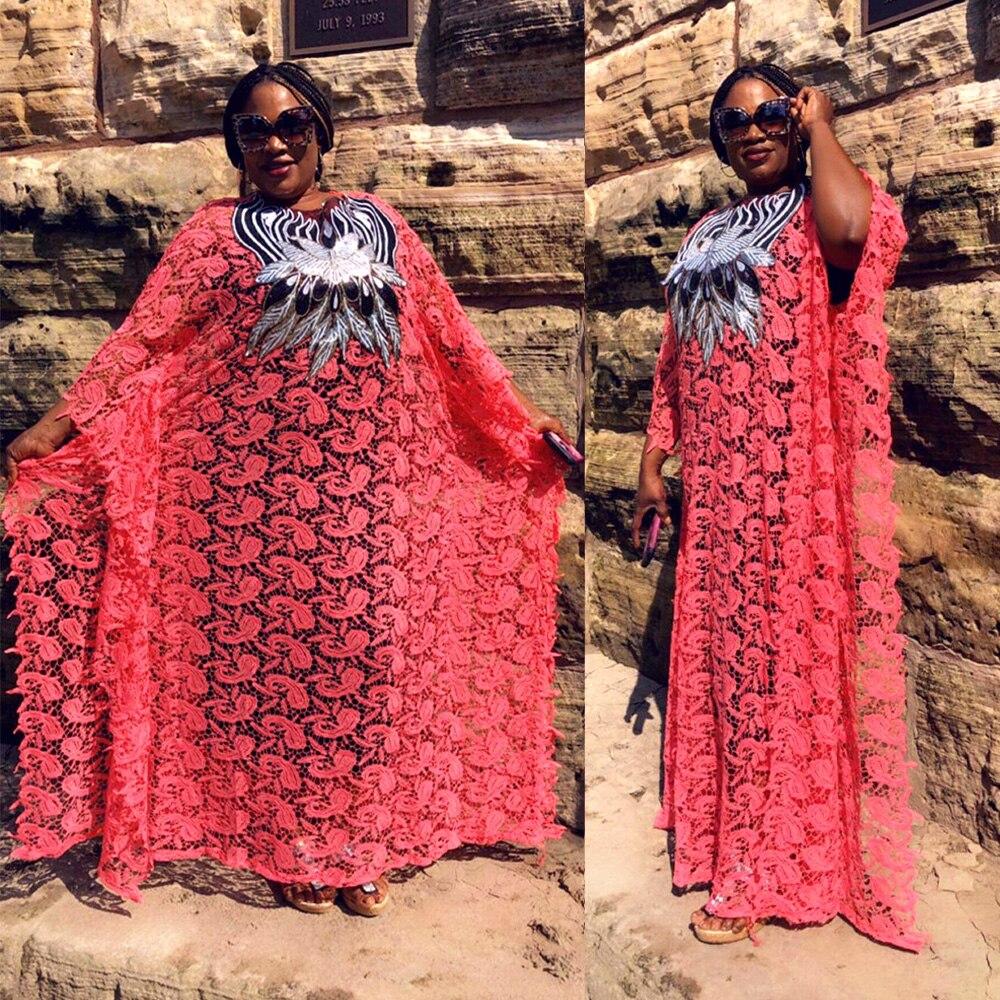 2019 New African Lace Dresses For Women Robe Africaine Femme Evening Dresses Elegant Designer Dress Plus Size Africa Clothes