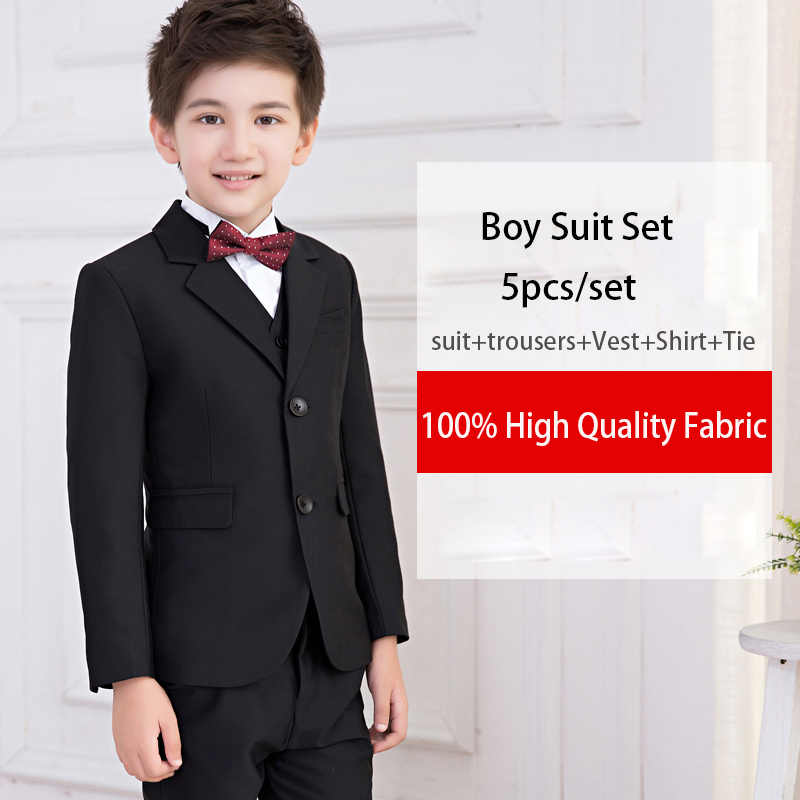 e514a3cc38f3b 2019 Spring Flower boy wedding Suits for boys kids Black blazers formal  clothes uniform Children teenage school party clothing