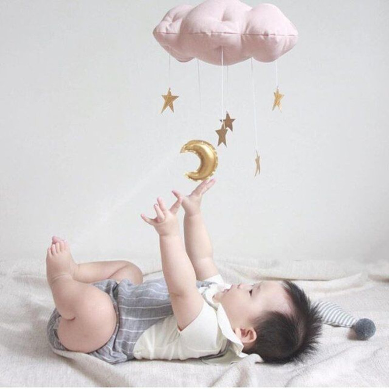 Newborn Baby Bedroom Mobile Cloud And Star Tent Wall Cloud Hanging Decoration INS Nordic Toys Photo Props For Kids 30cm*20cm
