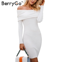 BerryGo Sexy Autumn Winter Dress Off Shoulder Knitting Sweater Dress Women Bodycon Long Sleeve Mini Dress