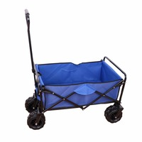 Blue Garden Cart Outdoor Canvas Fabric Garden Beach Sport Picnic Cart Fold for easy carrying Large space load