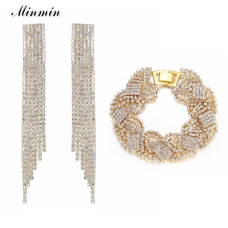 Minmin Mewah Warna Emas Kristal Pernikahan Jewelry Set untuk Wanita Gelang Panjang Rumbai Anting Set Fashion Perhiasan EH424 + SL076