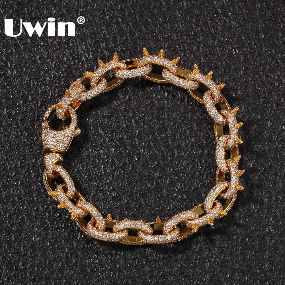 UWIN Spikes Rivet Cone Stud Bracelets Gold Color Cubic Zirconia Round Cuban Link Fashion Hiphop Iced Out Bracelet Jewelry