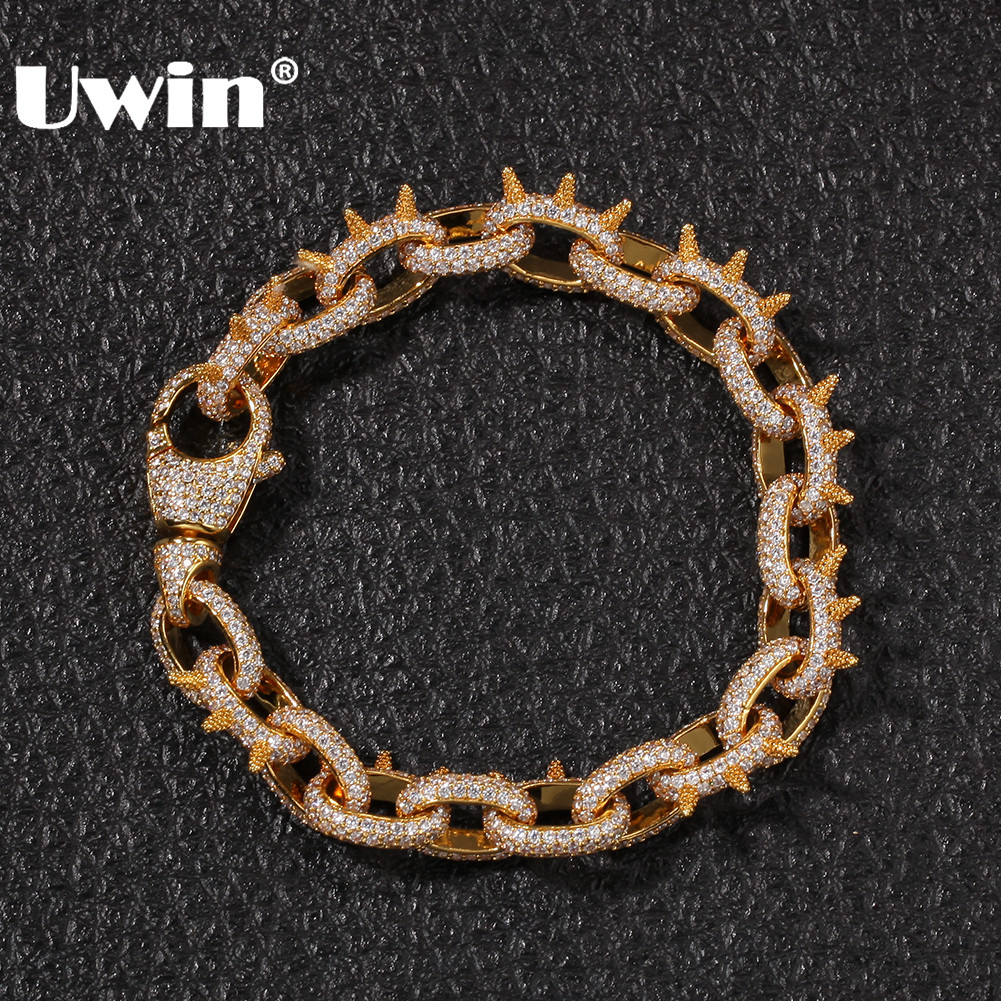 UWIN Spikes Rivet Cone Stud Bracelets Gold Color Cubic Zirconia Round Cuban Link Hiphop Iced Out Bracelet Jewelry