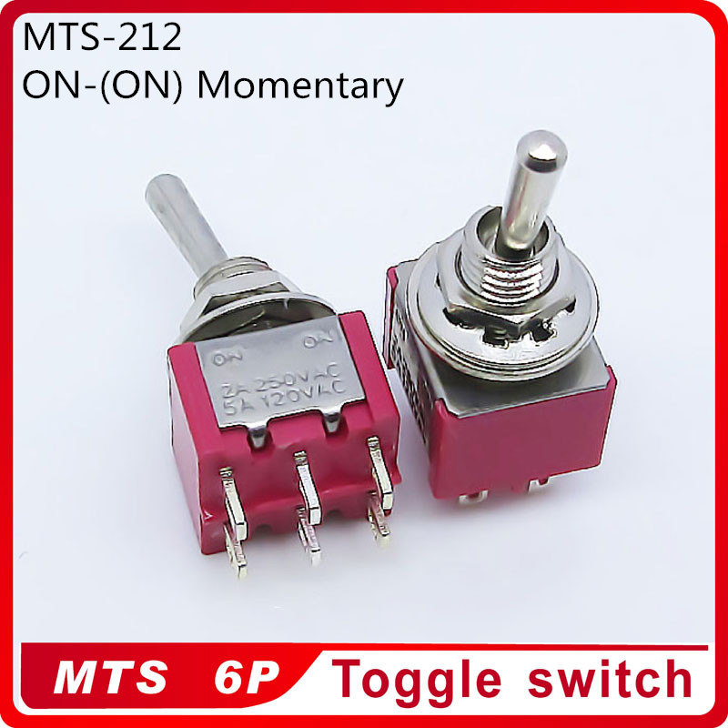 Wholesale 100pcs <font><b>MTS</b></font>-212 ON (ON) Momentary 2 Position 2A250VAC 5A120VAC Power 6pin Toggle <font><b>Switch</b></font> Excellent Quality image