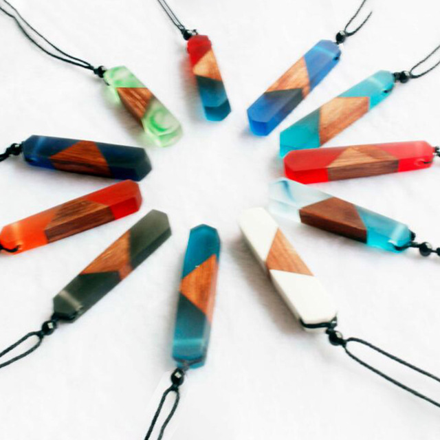 1pc women men necklace handmade vintage resin wood necklaces 1pc women men necklace handmade vintage resin wood necklaces pendants long rope wooden necklace jewelry mozeypictures Choice Image