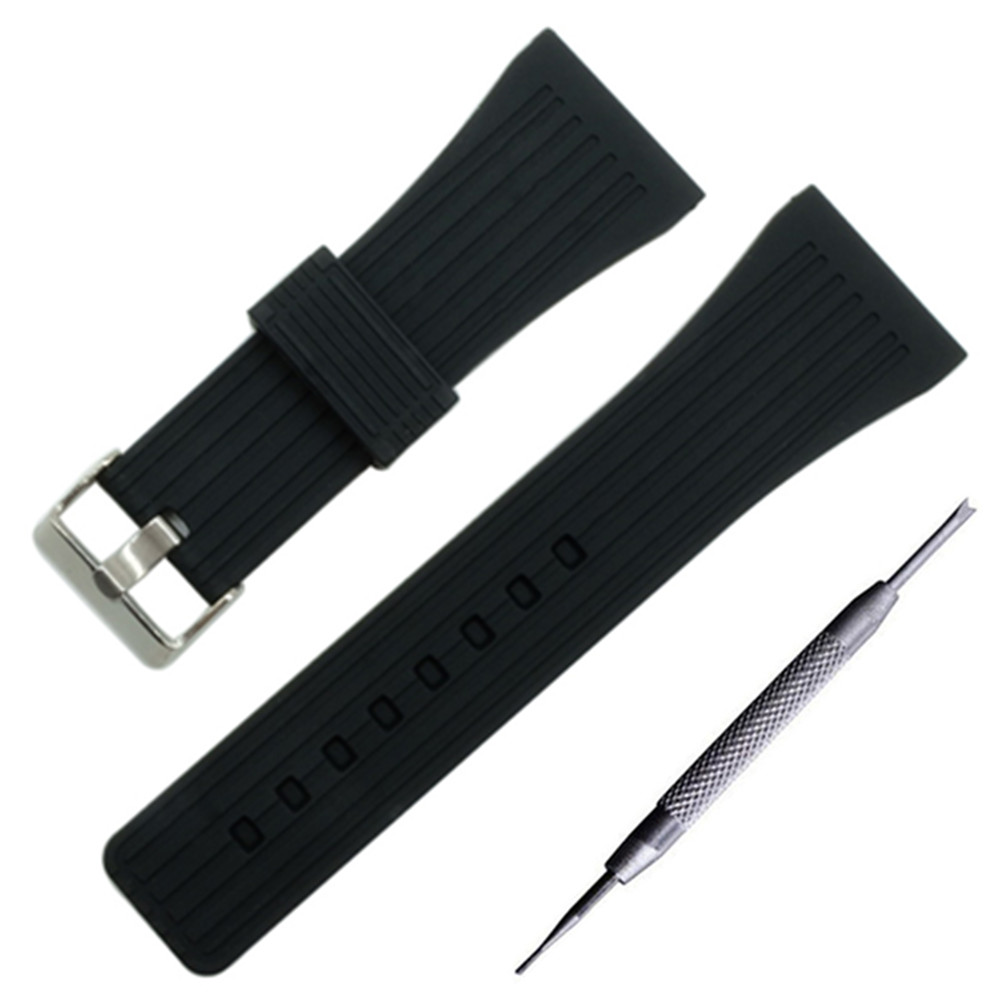 Silicone Rubber Watch Band 30mm Universal Watchband Stainless Steel Pin Clasp Strap Wrist Loop Belt Bracelet Black + ToolSilicone Rubber Watch Band 30mm Universal Watchband Stainless Steel Pin Clasp Strap Wrist Loop Belt Bracelet Black + Tool