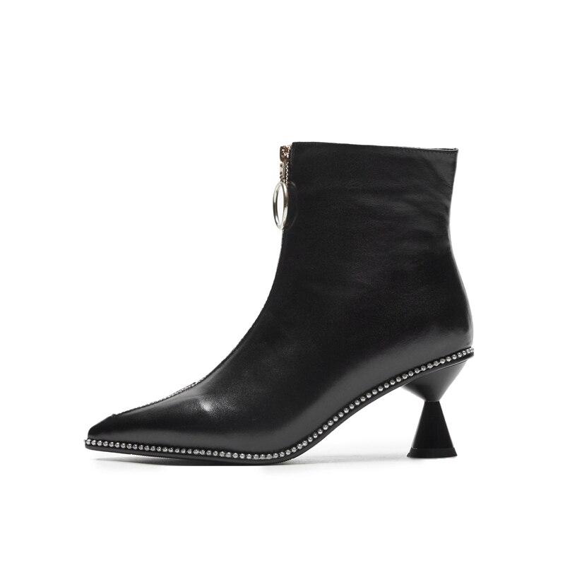 Black De Métal Cr1449 En Femmes Talons Bottes Hiver Bout Zipper Enmayer Pointu Avant Tendance white Automne Chaussures Femme Bottines Med jq4A3R5cL
