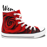 Man Woman Painted Canvas Shoes Rose Converse All Star All Red Hand Painted Art Wen Sneakers