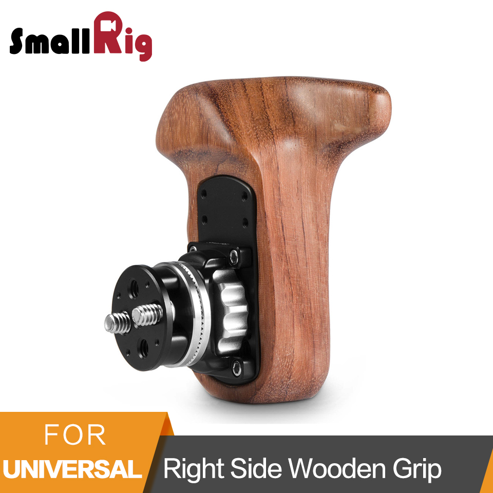 Smallrig Wooden Handle Grip Right Side Quick Release Handle With Arri Rosette Bolt-On Mount For Universal Camera Hand Grip -2083