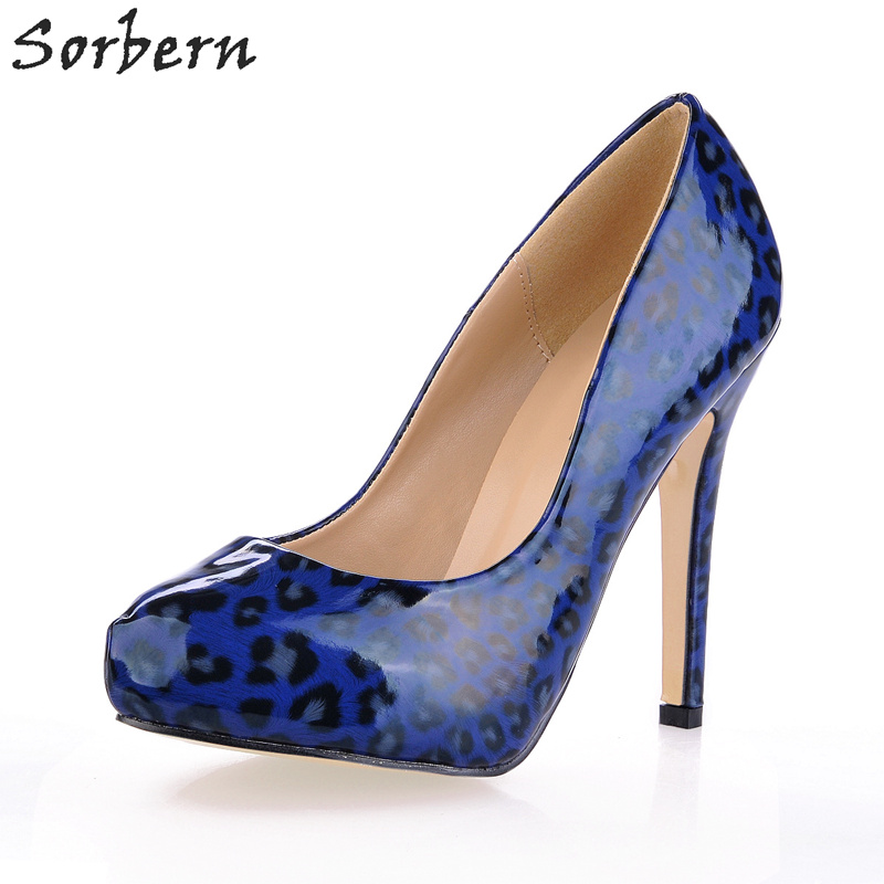 Sorbern Leopard Patent Leather Slip On Women Pumps 11Cm High Heels Pointed Toe Shoes Ladies Size 40 Buty Damskie Ladies Heels