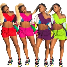 Two Piece Set Crop Top And Shorts Sets Contrast Color Patchwork Playsuits Casual Bike Shorts Activewear Loose Summer Outfits men contrast tape hooded top with shorts