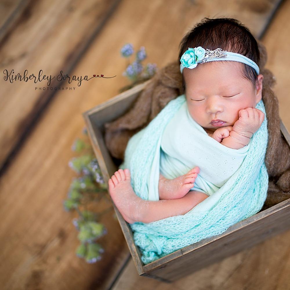 Baby Blue Mohair Knit Wrap Newborn Photography