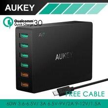 Carga rápida 3.0 aukey $ number puertos cargador de viaje usb cargador rápido universal para samsung galaxy s7/s6/edge, lg, xiaomi, iphone y más
