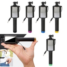 Universal Portable Hand Cable Holder Extendable Selfie Stick Folding Self Timer Rod With Mirror For iPhone Samsung Xiaomi Huawei