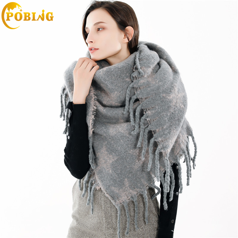 POBING Brand Winter Scarf Women Star Print Soft Cashmere Scarves Wraps Basic Acrylic Wram Shawl Female Bufandas Tassel Blanket