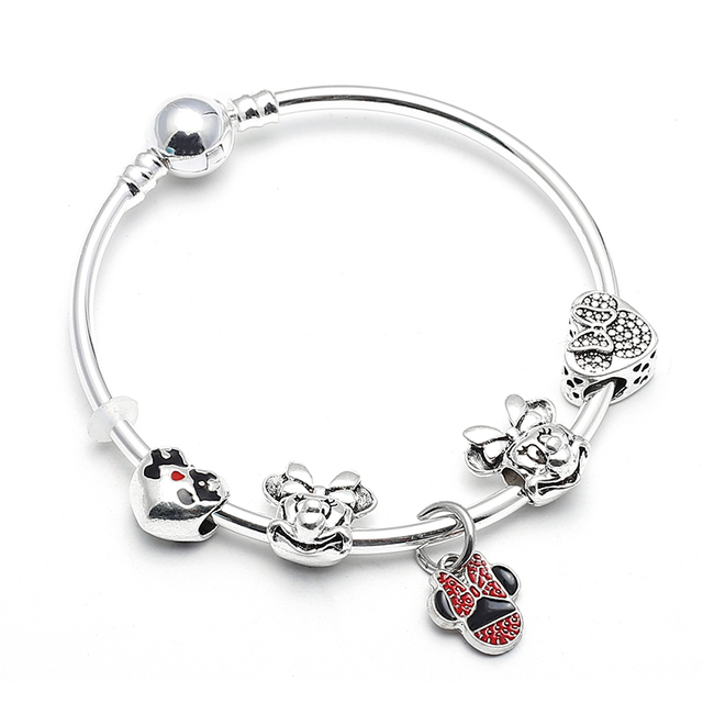 Baopon Animal Mickey Charm Bracelets Bangle For Women Fashion Original Diy Red Minnie Mouse Fine