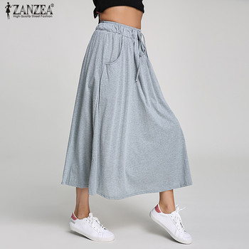 d71174952a ZANZEA 2018 verano mujeres faldas largas algodón Swing Vintage alta cintura  bolsillos plisados con cinturón lazo