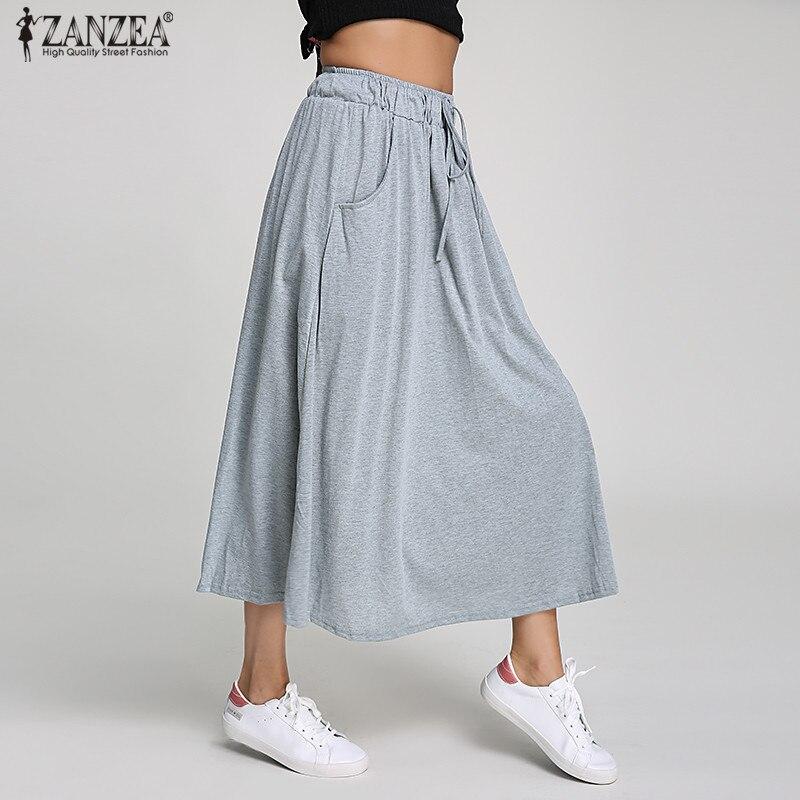 79ea8f048 ZANZEA 2019 verano mujeres faldas largas algodón Swing Vintage cintura alta  bolsillos plisados ...