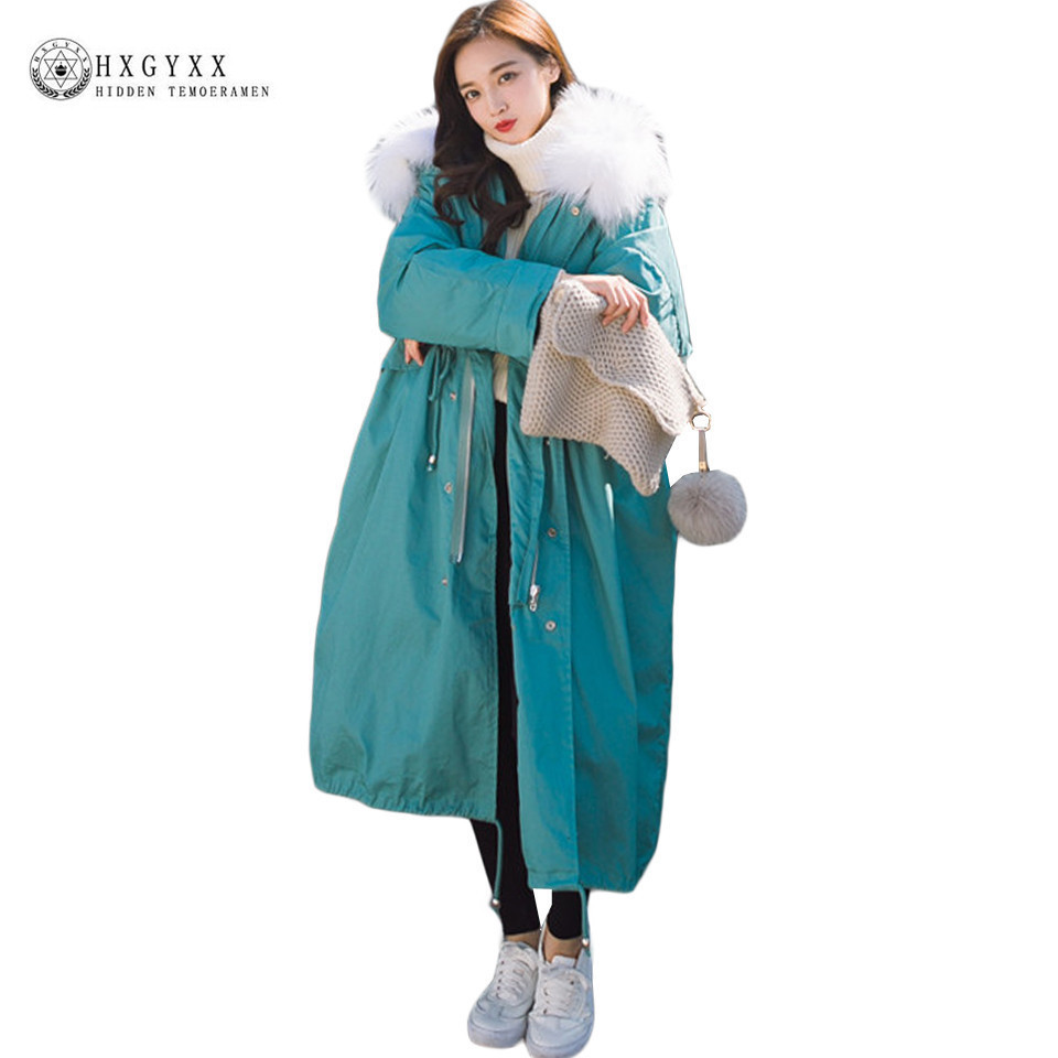Winter Coat Women Large Fur Collar Hooded Long Jacket Thicken Warm Korean Padded Parkas 2017 Oversize Military Parka Okb128 2017 new winter jacket women parka large fur collar hooded thicken coat slim medium long cotton padded big pocket warm parkas