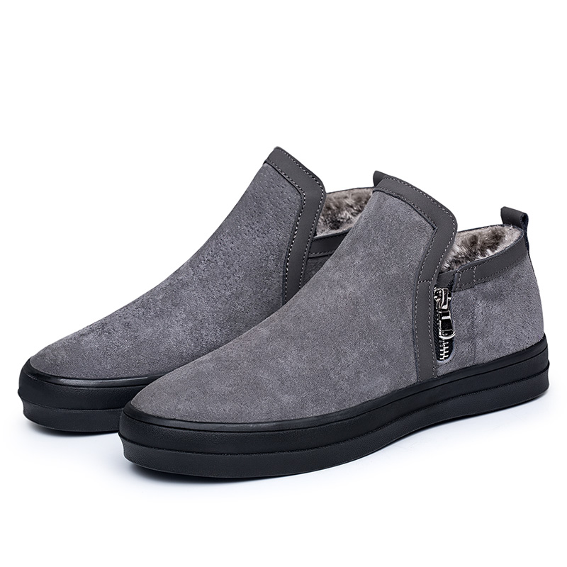 Casual Snow Boots Men Winter Waterproof Warm Leather Solid Color 2018 Fashion with Fur Plush Shoes Plus Size Suede Ankle New Hot casual men s plus size solid color button down shirt