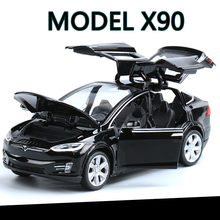 High Simulation 1:32 Tesla MODEL X 90 Alloy Car Model Diecasts Toy Vehicles Toy Cars Boy Toys Pull Back Flashing Sound Kid Gifts(China)