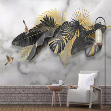 3D photo wallpaper Nordic minimalist hand-painted tropical plants leaves birds murals home decoration