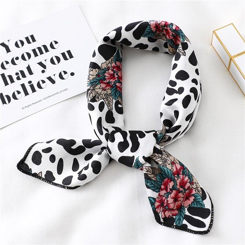 Brand Designer Small Square Satin Scarf Women Silk Scarfs Foulard Bandana  Elegant Ladies Wrap Handkerchief Accessories 2020 New