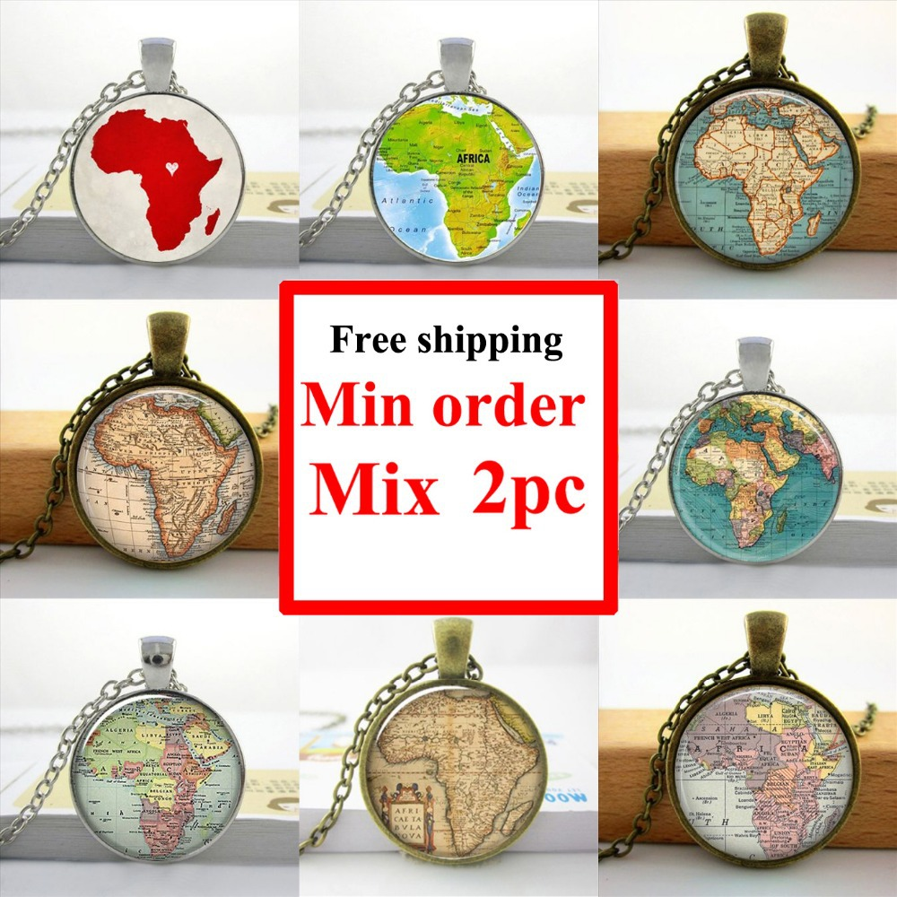 2016 Africa Map Necklace Africa Map Pendant Home Town Love Jewelry