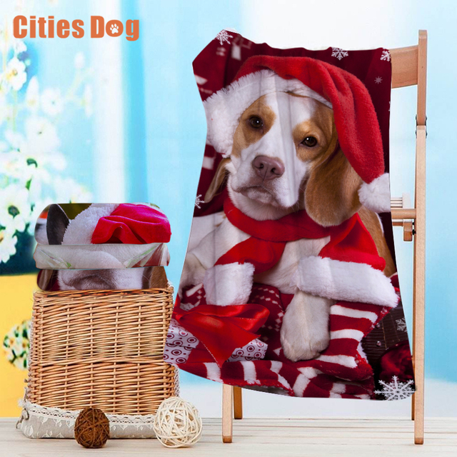 Beach Towel Christmas Decorations Gift Beagle Dog Microfiber Travel Outdoors Sports Swimming Camping Bath Yoga Mat