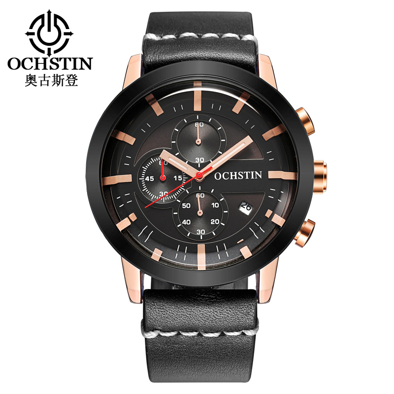 2017 Mens Watches OCHSTIN Brand Luxury Fashion Quartz Wristwatch Men Dive Military Leather Clock Sport Watch