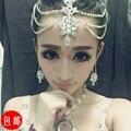 Crystal head chain indian head joyería de las vendas de boda rhinestone joyería del pelo de la tiara de la novia al por mayor